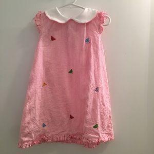 3T girls pink seersucker butterfly dress
